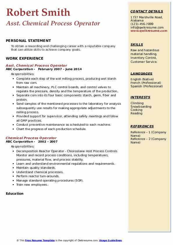 Asst. Chemical Process Operator Resume Template