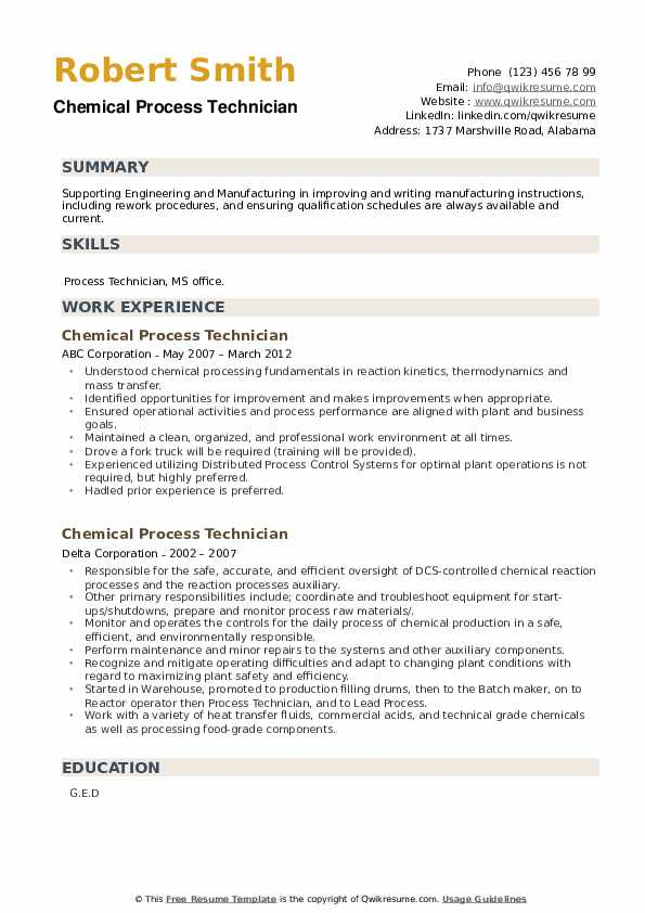Chemical Process Technician Resume example