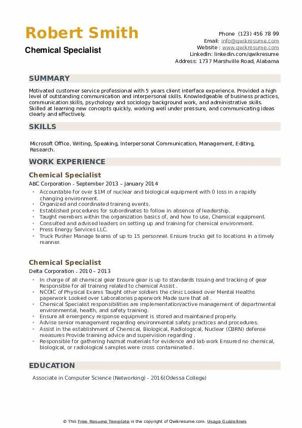 Chemical Specialist Resume example