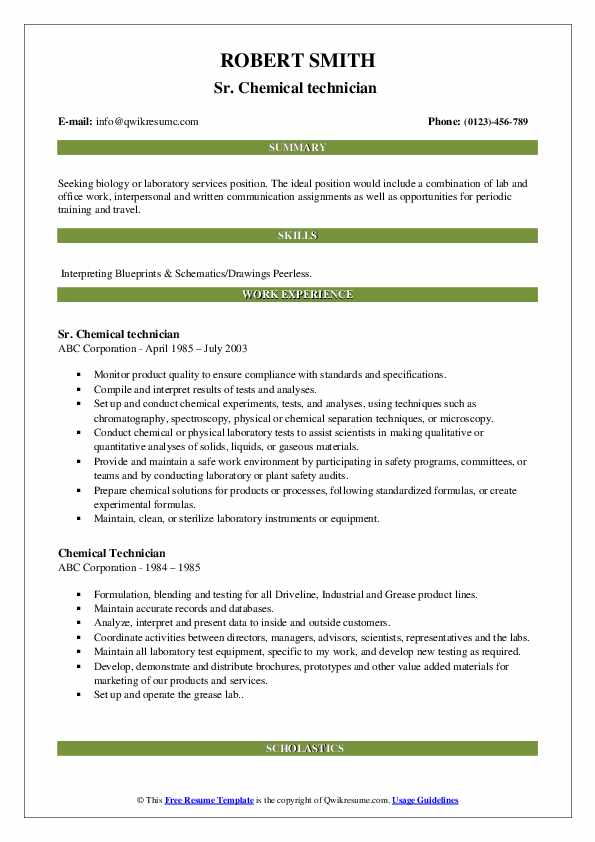 Sr. Chemical technician  Resume Example