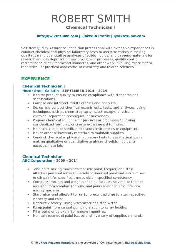 Chemical Technician I Resume Template