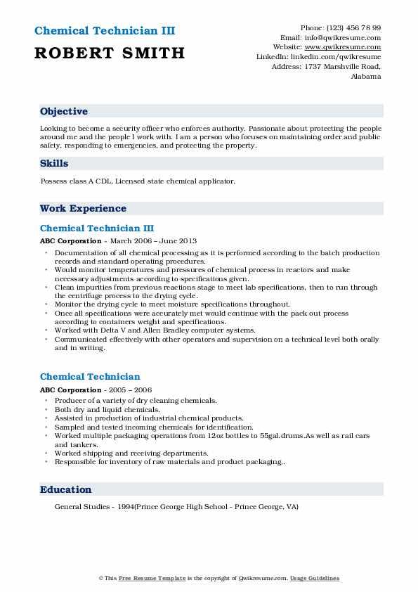 Chemical Technician III Resume Example