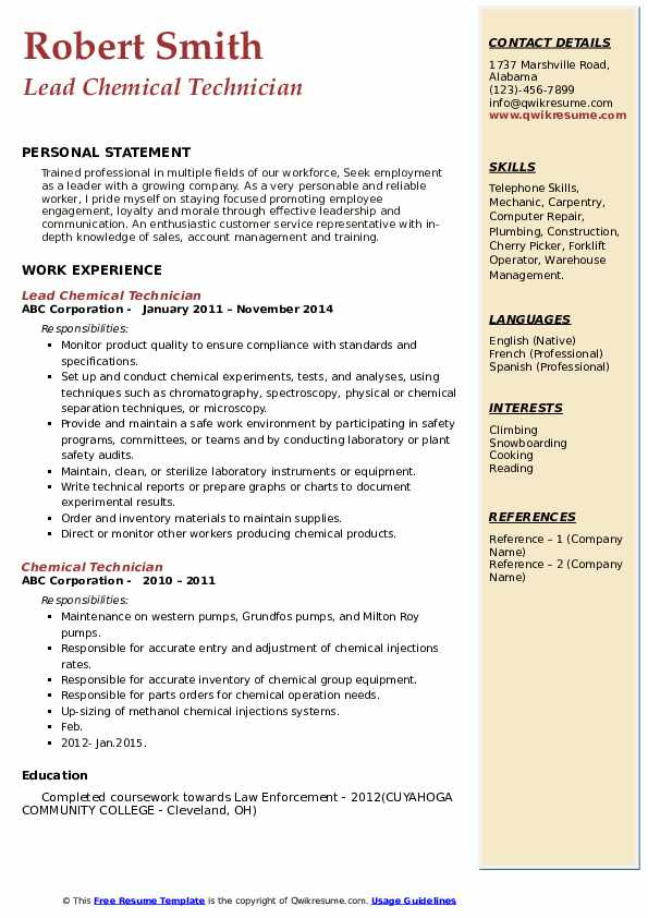 Lead Chemical Technician Resume Format