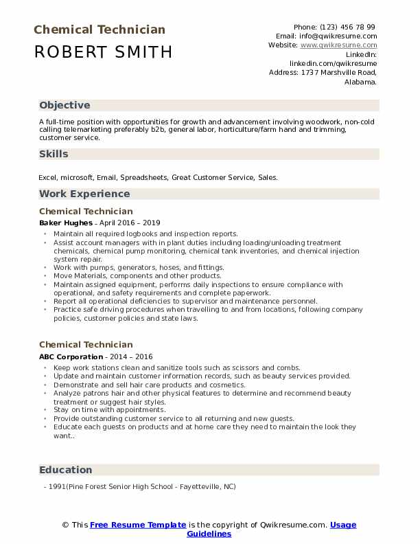 Chemical Technician Resume example
