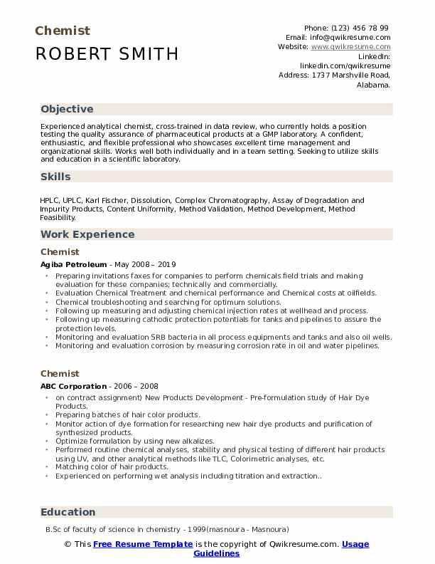 Chemist Resume Template