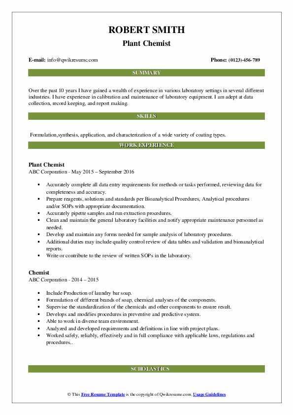 Plant Chemist Resume Model
