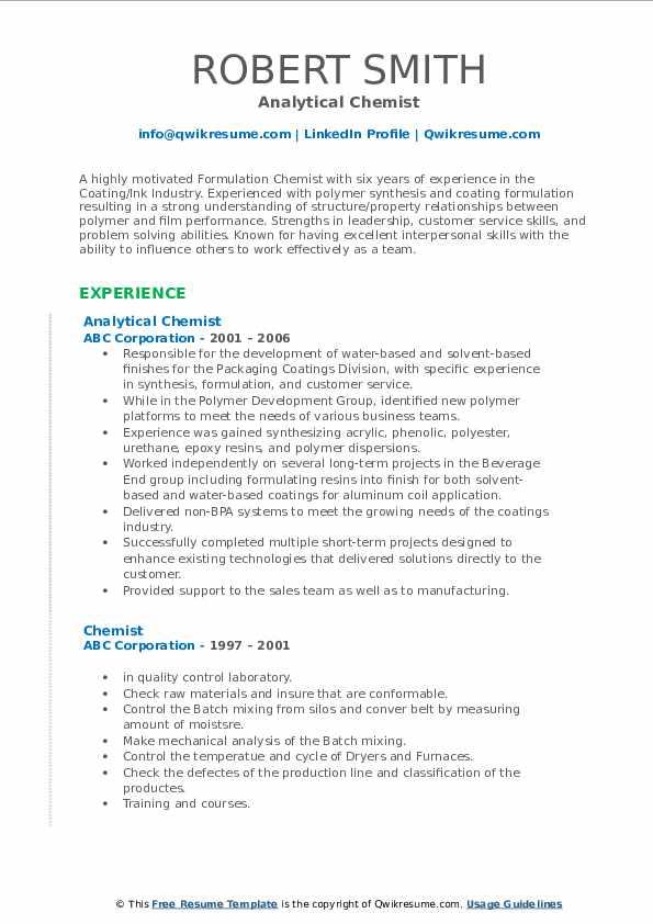 Analytical Chemist Resume Example
