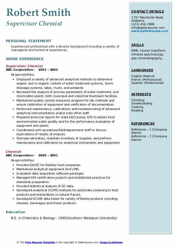 Supervisor Chemist Resume Sample