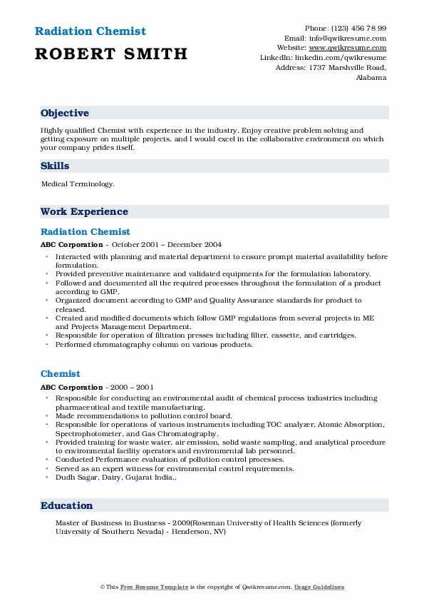 Radiation Chemist  Resume Sample