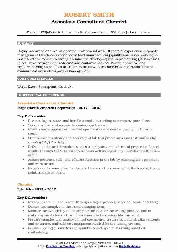 Associate Consultant Chemist Resume Template