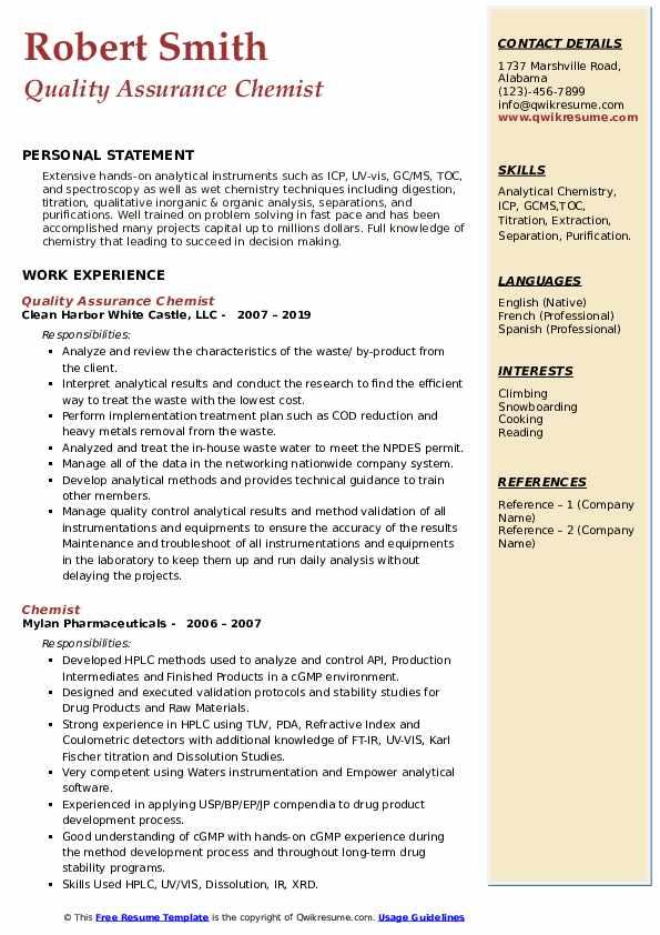 Quality Assurance Chemist Resume Format