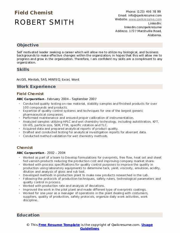 Field Chemist Resume Model