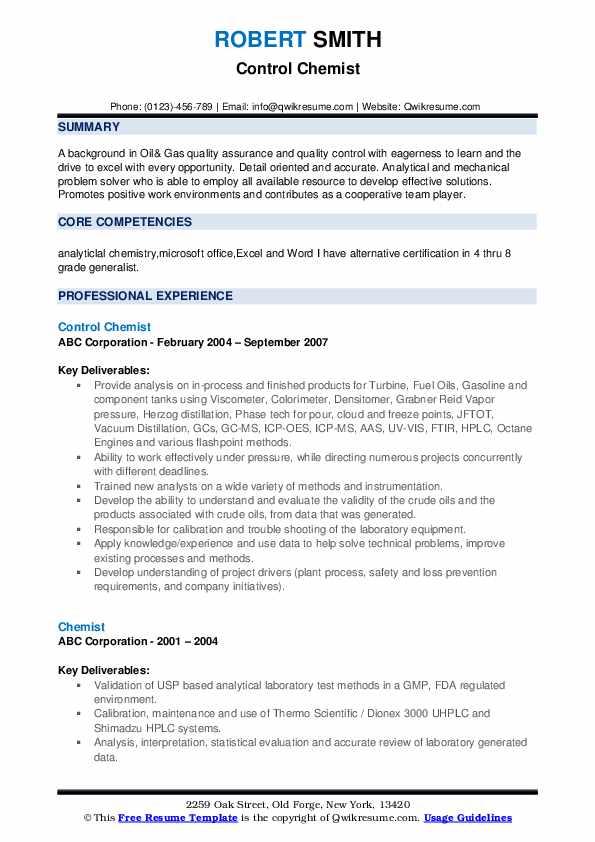 Control Chemist Resume Sample