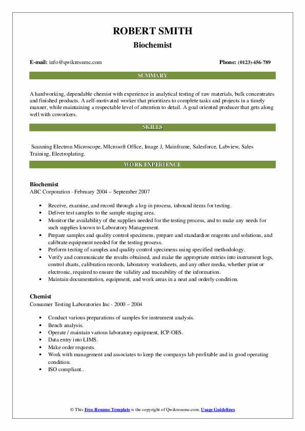 Biochemist Resume Template