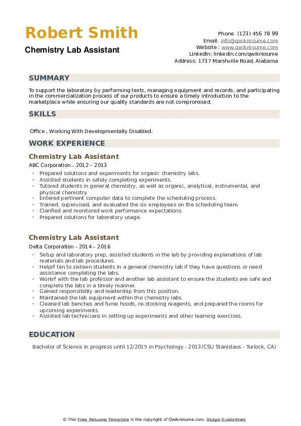 Chemistry Lab Assistant Resume example