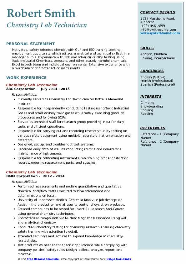 chemistry lab technician resume samples  qwikresume