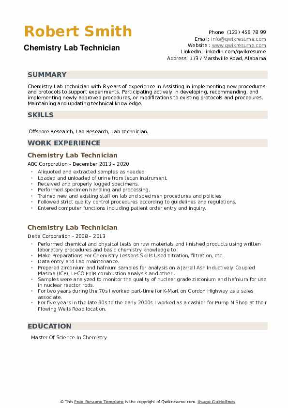 Chemistry Lab Technician Resume example