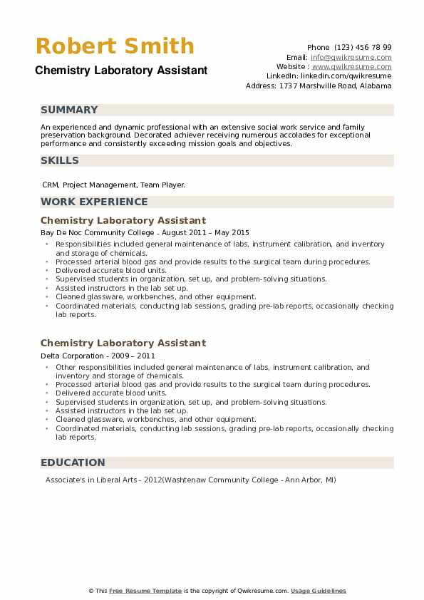 Chemistry Laboratory Assistant Resume example