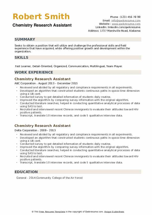 Chemistry Research Assistant Resume example