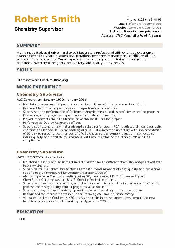 Chemistry Supervisor Resume example
