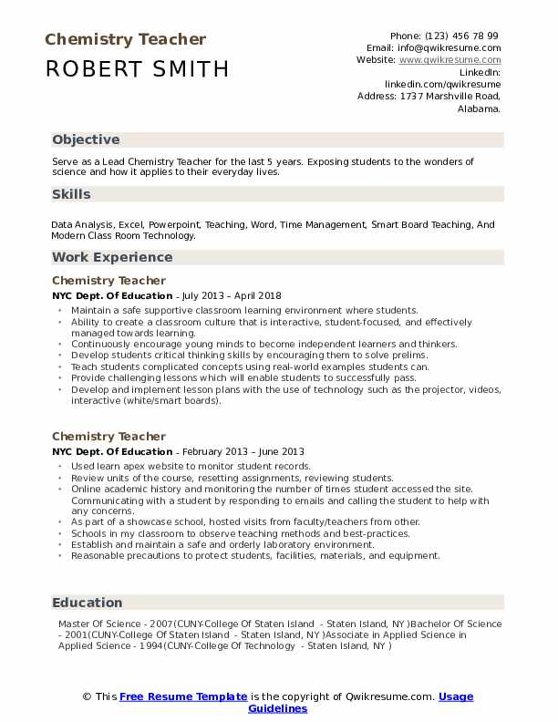 Chemistry Teacher Resume Template