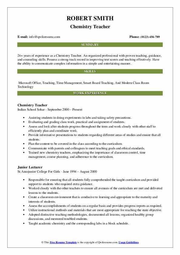 chemistry teacher resume samples