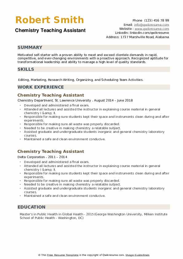 Chemistry Teaching Assistant Resume example