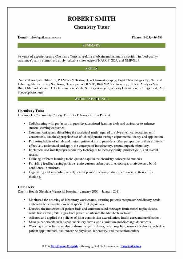 Chemistry Tutor Resume Format