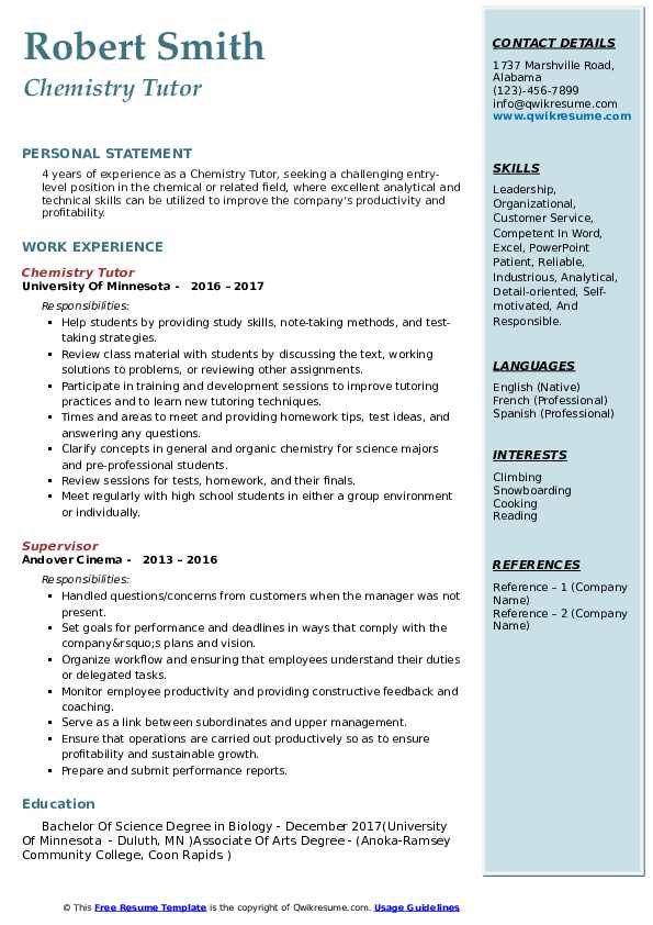 Chemistry Tutor Resume Samples | QwikResume
