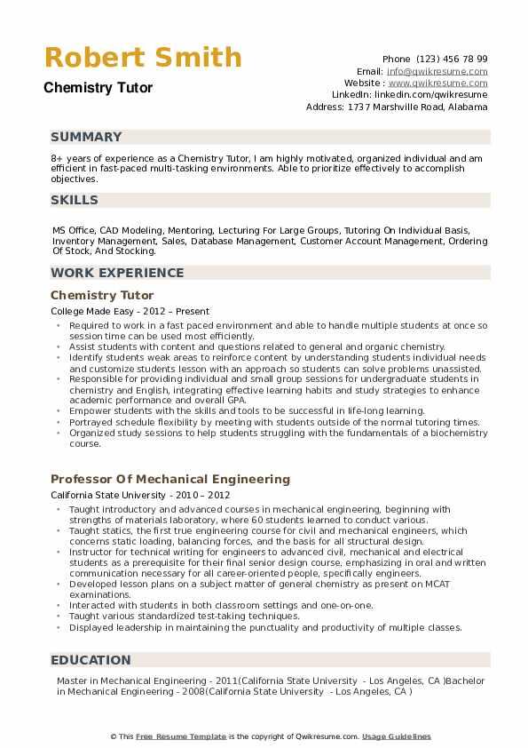 Chemistry Tutor Resume example