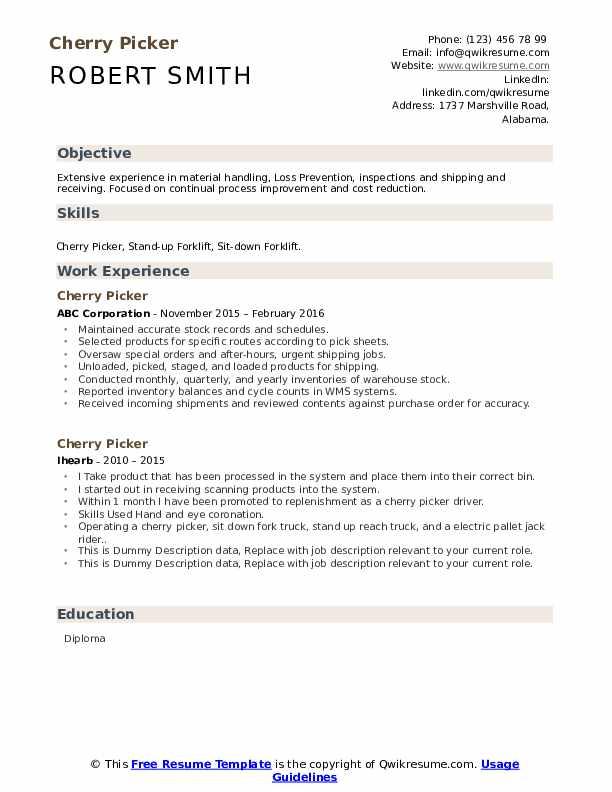 Cherry Picker Resume example