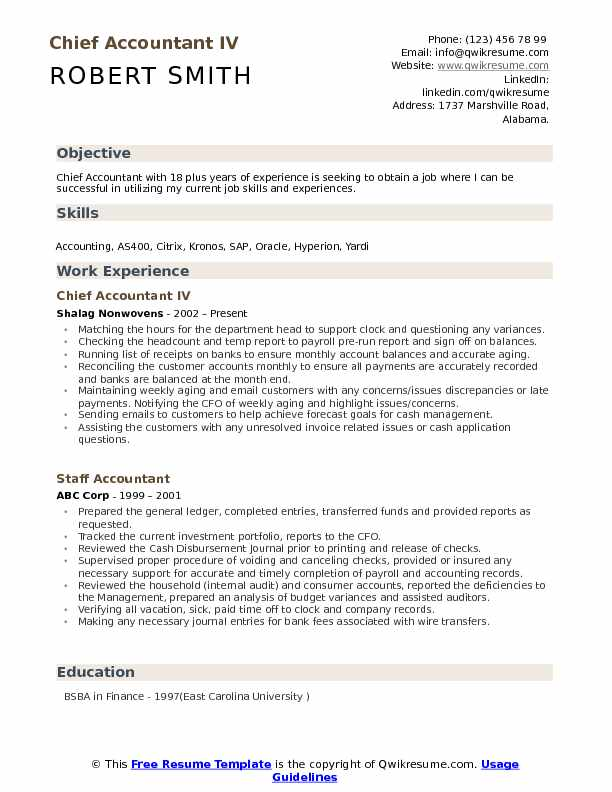 Chief Accountant IV Resume Example