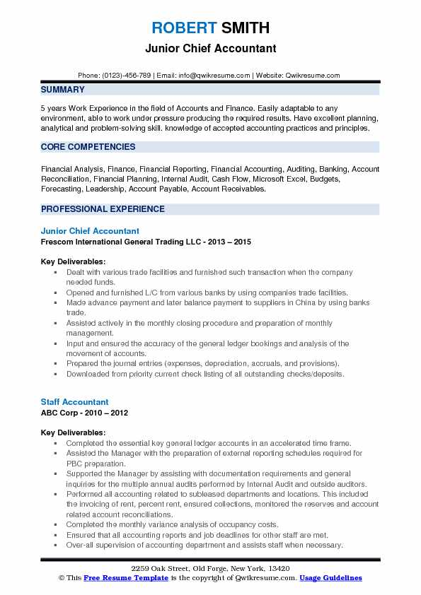 Junior Chief Accountant Resume Format