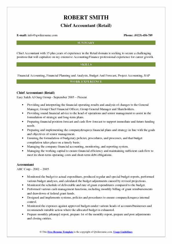 Chief Accountant (Retail) Resume Template