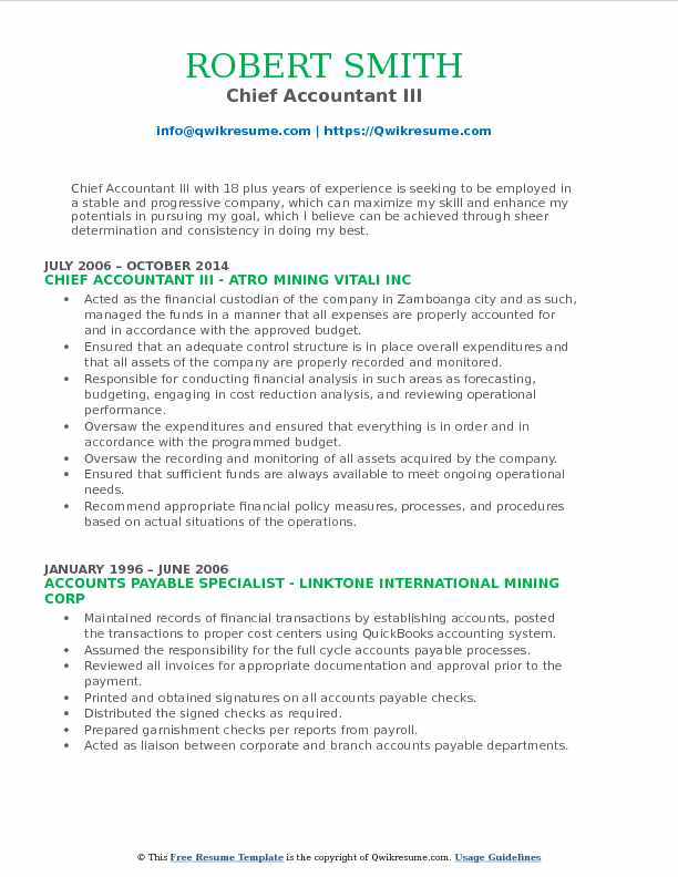 Chief Accountant III Resume Example
