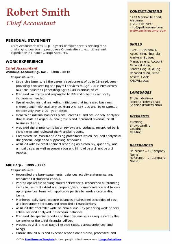 Chief Accountant Resume Format