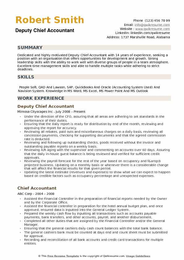 Chief Accountant Resume Samples Qwikresume