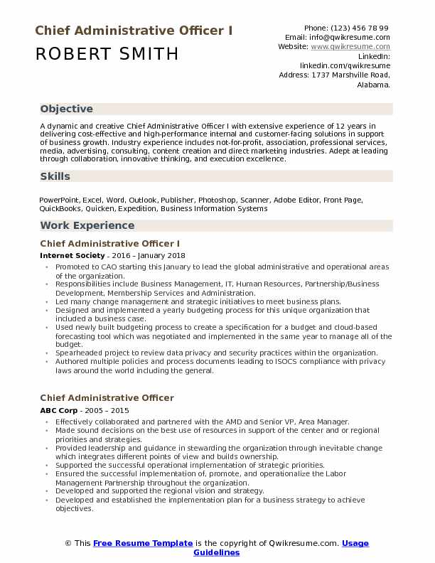 Chief Administrative Officer I Resume Sample