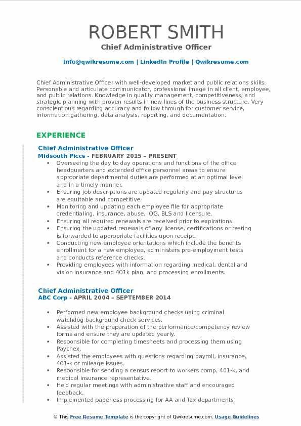Chief Administrative Officer Resume Sample