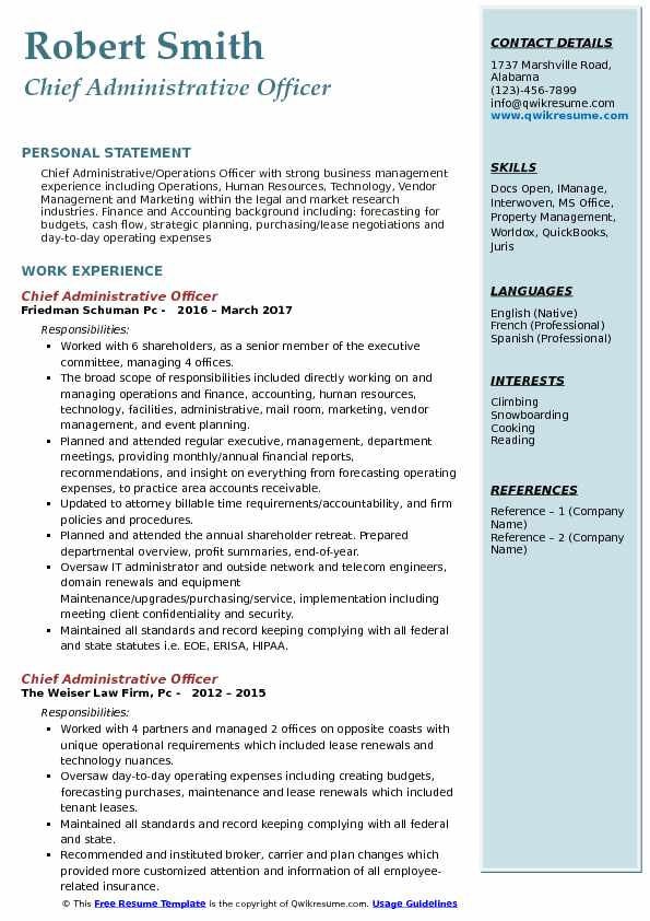 Chief Administrative Officer Resume Model