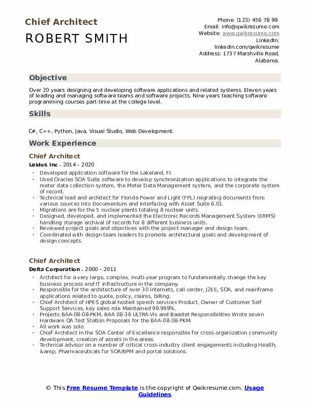 Chief Architect Resume Samples Qwikresume