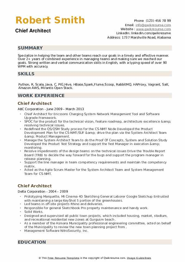 Chief Architect Resume example