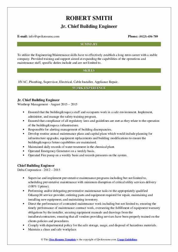 chief building engineer resume samples  qwikresume