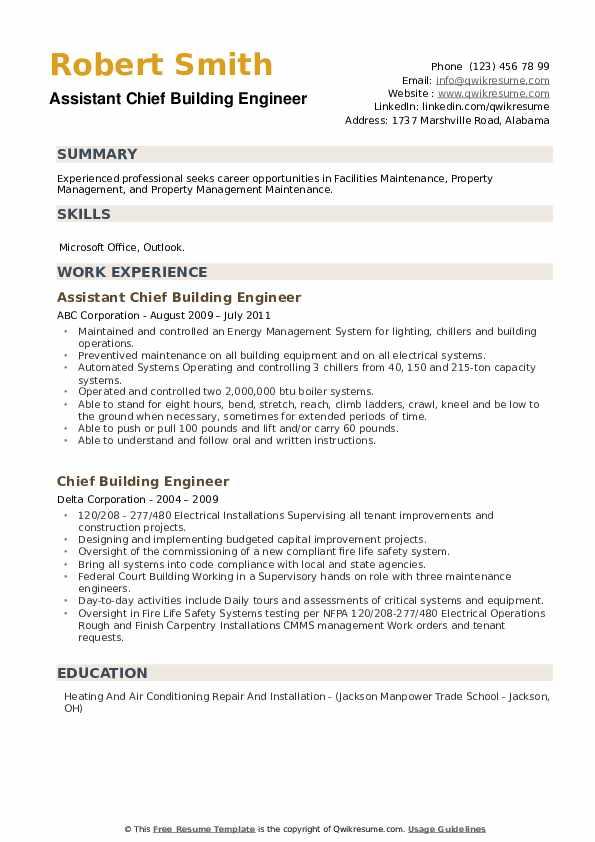 Chief Building Engineer Resume example