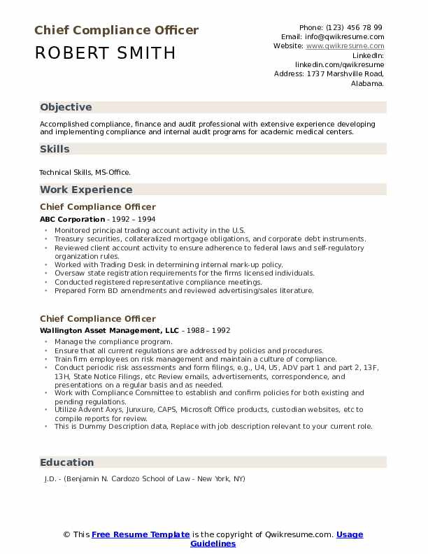 Chief Compliance Officer Resume example