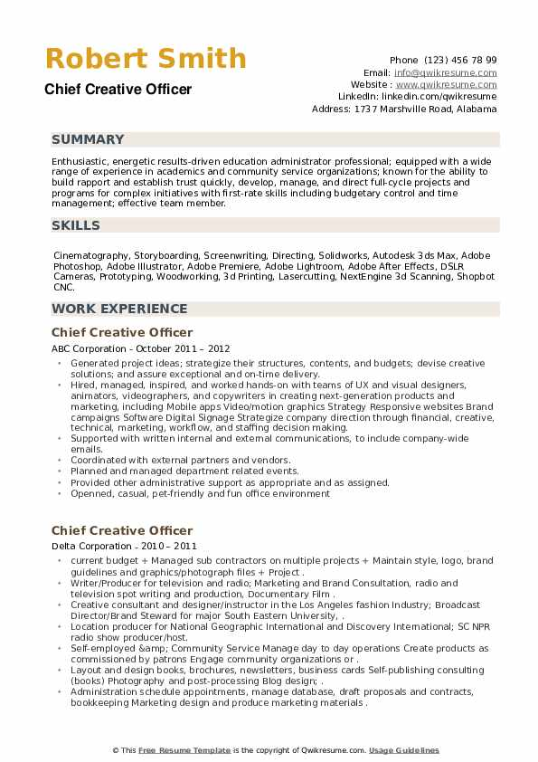 Chief Creative Officer Resume example