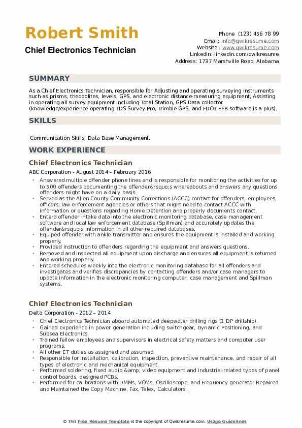Chief Electronics Technician Resume example