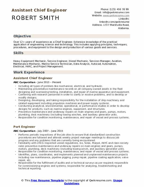 Chief Engineer Resume Samples Qwikresume