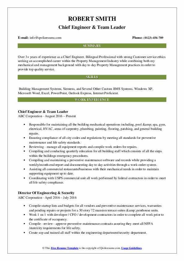 Chief Engineer Resume Samples | QwikResume