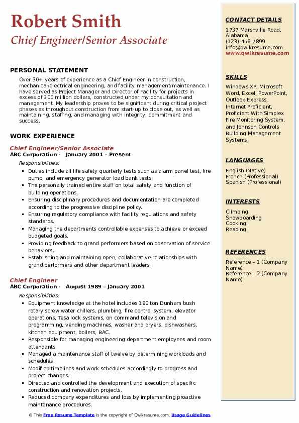 Chief Engineer Resume Samples | QwikResume